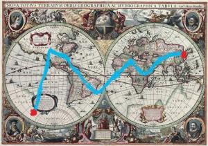 GMH touring the terrain via analagous 17th century map
